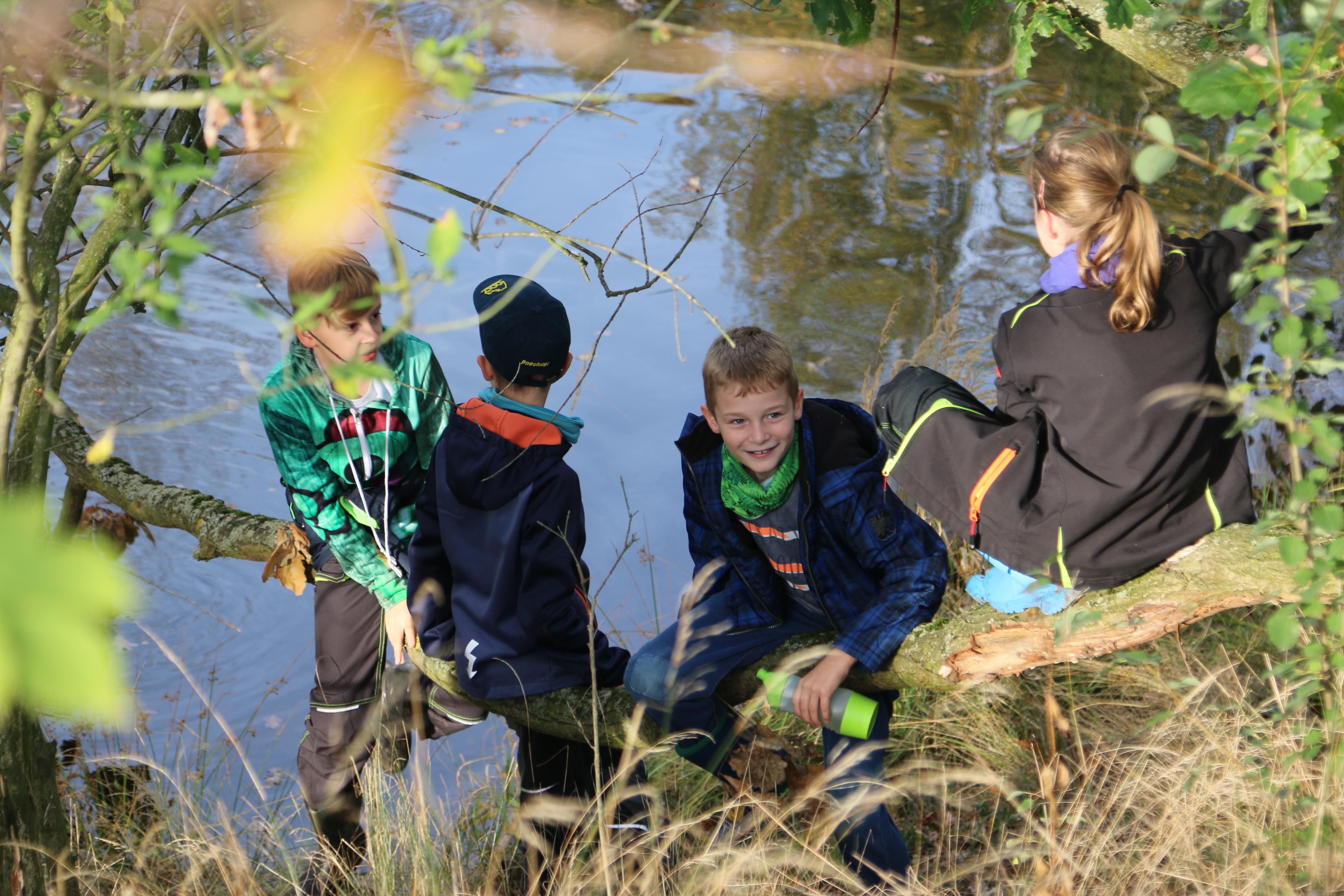 Junge Naturwächter sitzen auf einem Baum am Wasser