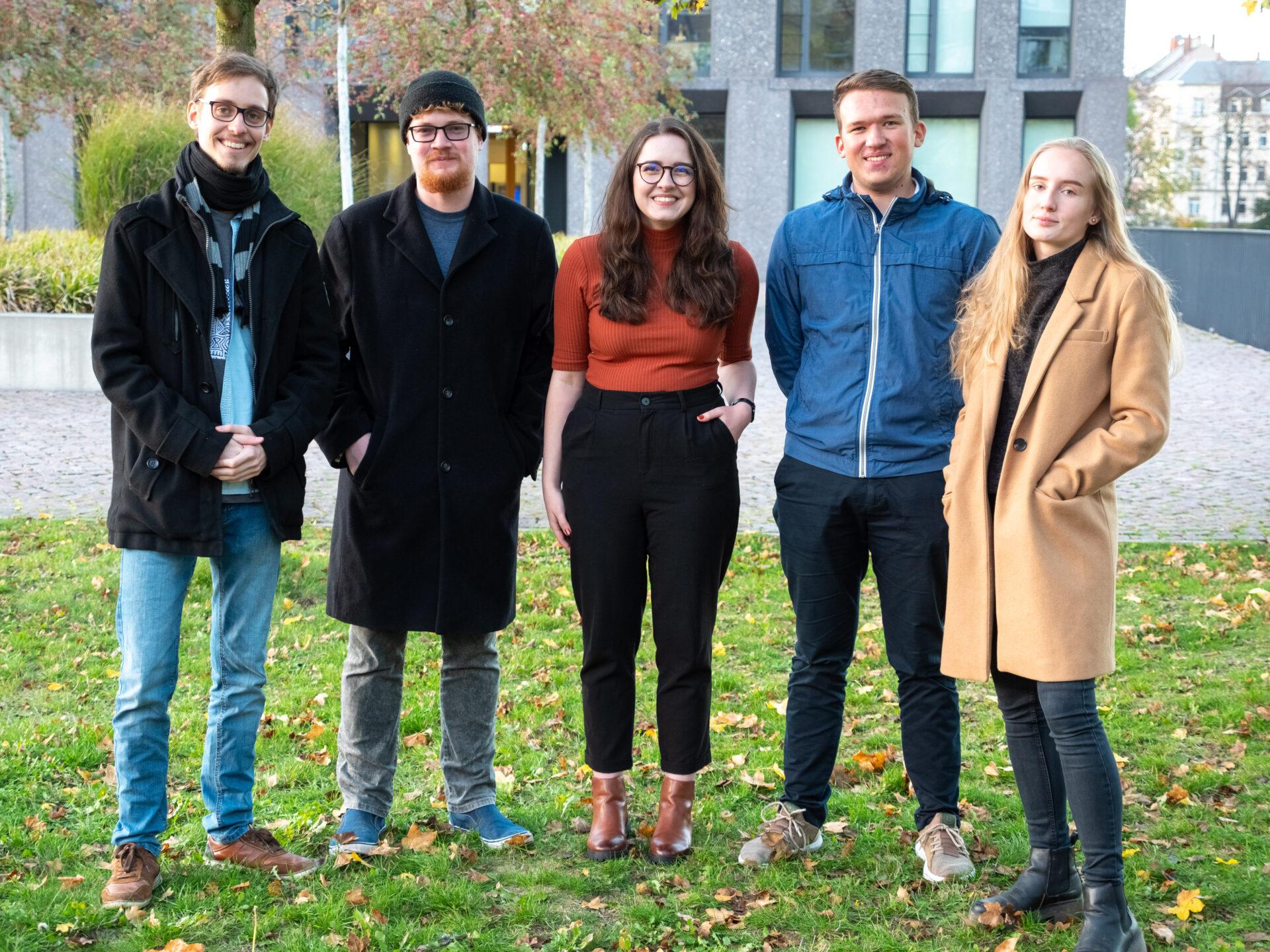 Das Team Social Media des Crossmedia- Teams der Hochschule Mittweida: Anja Weisbach, Franz Lermer, Jonas Dorn, Julia Walter, Max Herrmann